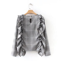 Plaids Houndstooth Floral Long Sleeve Ruffled Blouse