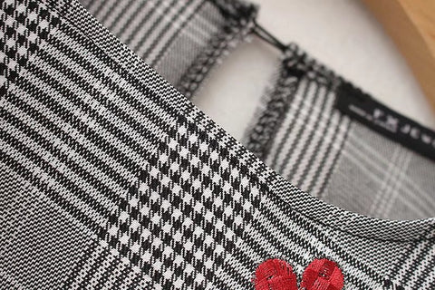 Plaids Houndstooth Ruffled Blouse