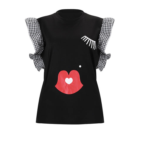 Round Neck Cartoon Printed Ruffled sleeve Shirts