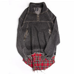 Unisex Plaid Denim Jacket