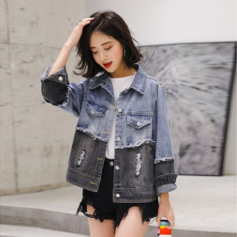 Unisex Patchwork Denim Jacket