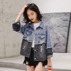 Image of Unisex Patchwork Denim Jacket