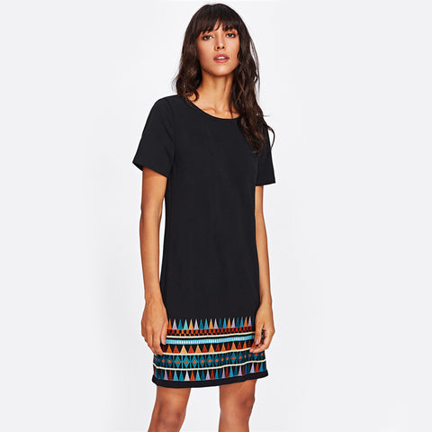 Aztec Embroidered Hem Dress