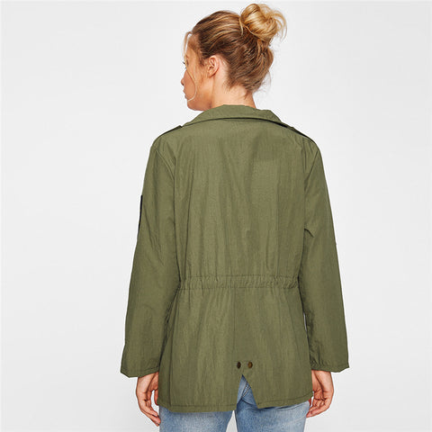 Drawstring Waist Patch Sleeve Utility Jacket