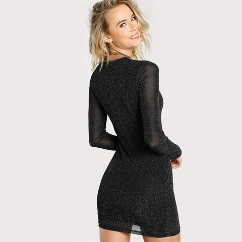 Glitter Form Fitting Tee Dress