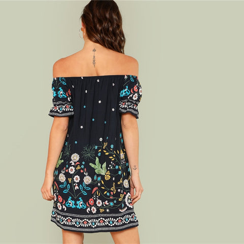 Flower Embroidery Bardot Dress
