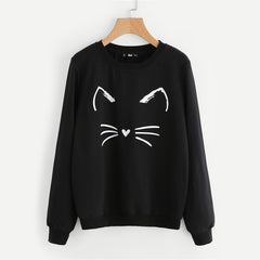 Image of Cartoon Cat Print Sweatshirt