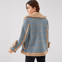 Waterfall Collar Contrast Faux Fur Plaid Coat