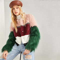 Zip Up Color Block Faux Fur Teddy Coat