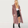 Image of Open Front Longline Faux Fur Teddy Coat