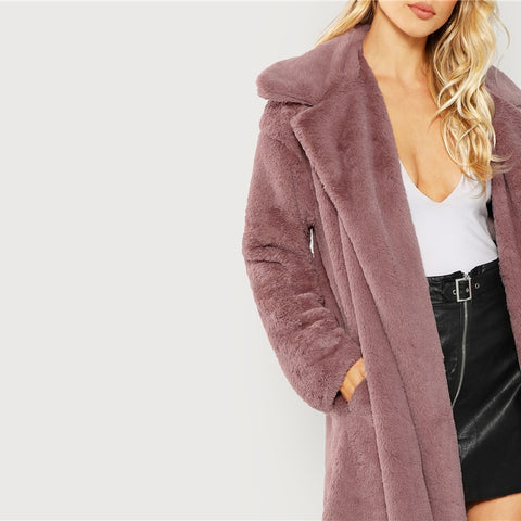 Open Front Longline Faux Fur Teddy Coat