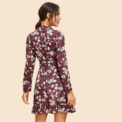 Ruffle Hem Flower Print Dress