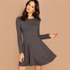 Image of Fit & Flare Heathered Flowy Knit Dress