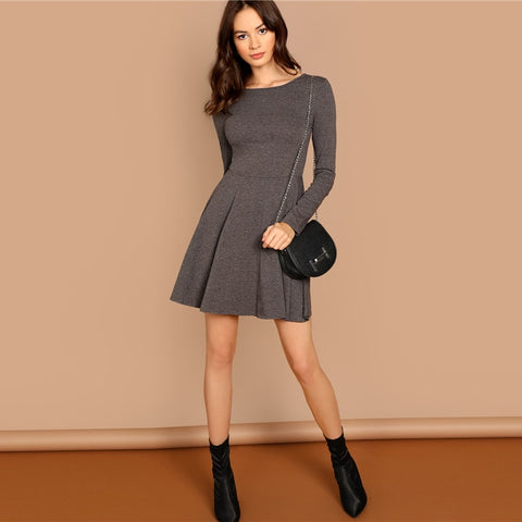 Fit & Flare Heathered Flowy Knit Dress