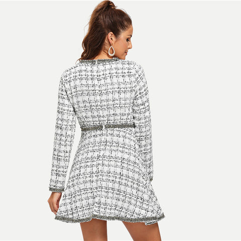 Contrast Trim Grid Tweed Dress