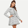 Image of Contrast Trim Grid Tweed Dress