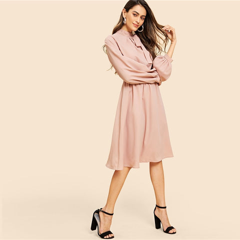 Tie Neck Pleat Detail Balloon Sleeve Dress