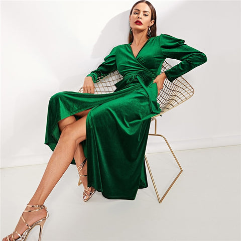 Puff Sleeve Tie Waist Surplice Wrap Dress