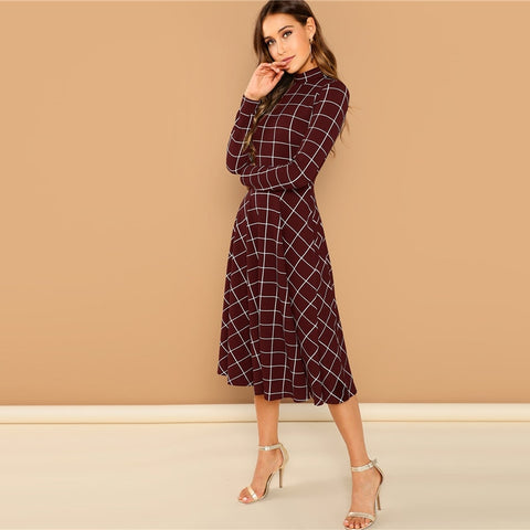 Mock-Neck Fit & Flare Grid Dress