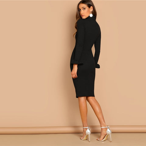 Flounce Sleeve Pencil Dress