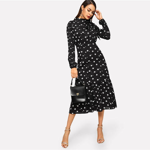 Tied Neck Star Print Flounce Hem Dress