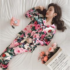 Image of Women Pajamas Faux Silk Pajamas Set Flower Print Long Sleeves 2 Piece