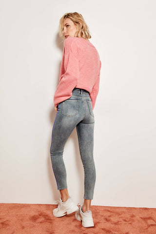 Advanced Printing High Waist Skinny Jeans Blue Tears