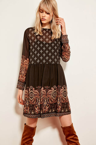 Multicolored Patterned Dress