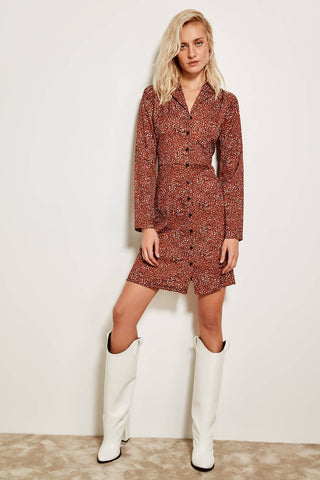 Brown Polka-Dot Patterned Dress