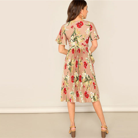 Surplice Wrap Belted Floral Dress