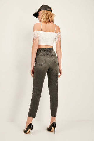 Anthracite High Waist Mom Jean