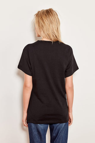 Black Print and Tassel Detail Semi-Fitted Knitted T-shirts