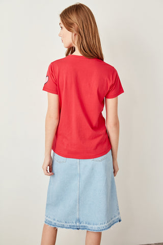 Red Printed Semi-Fitted Knitted T-shirts