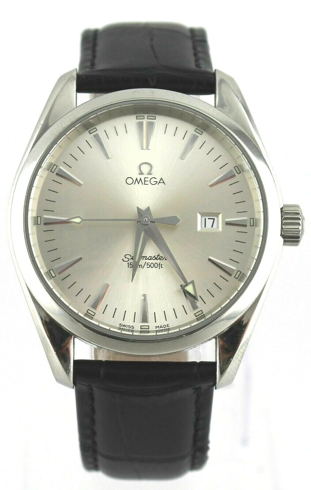 OMEGA SEAMASTER AQUA TERRA 2517.30 SILVER BLACK LEATHER SWISS QUARTZ MENS WATCH