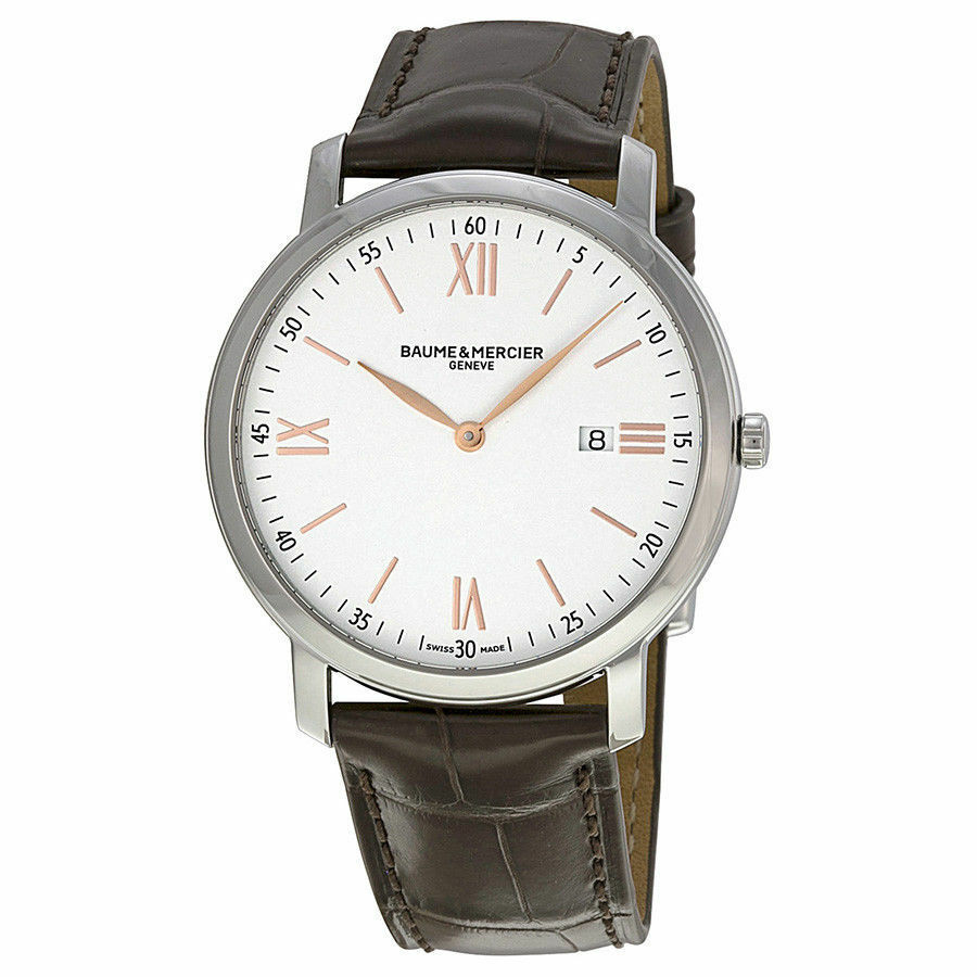 BRAND NEW BAUME ET MERCIER CLASSIMA 10181 MENS BROWN LEATHER ROSE GOLD WATCH