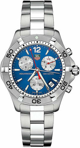 ORIGINAL TAG HEUER CAF1112.BA0803 AQUARACER QUARTZ CHRONOGRAPH MENS BLUE WATCH