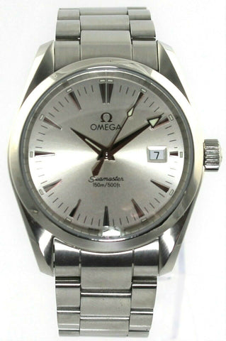 OMEGA SEAMASTER AQUA TERRA 2518.30 SILVER SWISS QUARTZ MIDSIZE MENS LUXURY WATCH