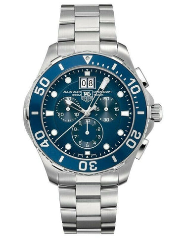 TAG HEUER CAN1011.BA0821 AQUARACER QUARTZ CHRONOGRAPH MENS BLUE BIG DATE WATCH