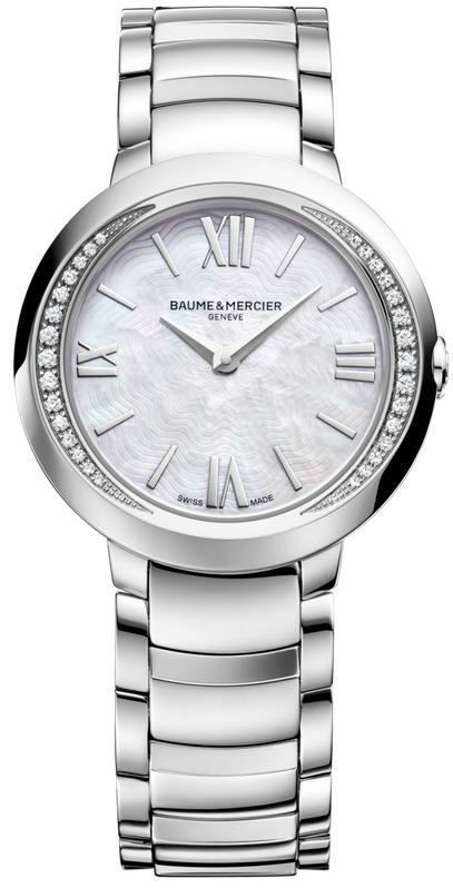 NEW BAUME ET MERCIER PROMSESSE MOA10160 SWISS QUARTZ DIAMOND PEARL LADIES WATCH