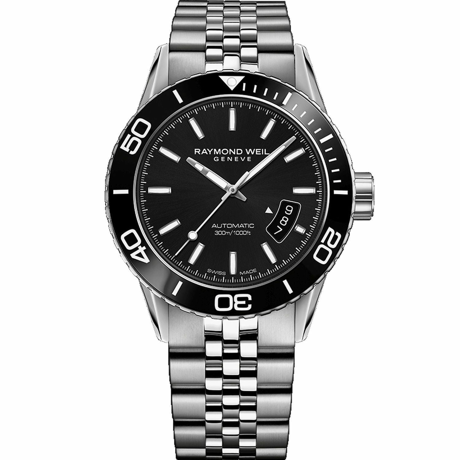 NEW RAYMOND WEIL FREELANCER  2760-ST1-20001 AUTOMATIC BLACK DATE MENS WATCH