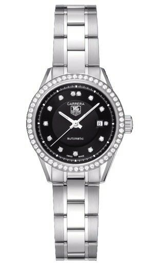 TAG HEUER LADIES CARRERA WV2412.BA0793 DIAMOND BLACK STEEL SWISS LUXURY WATCH