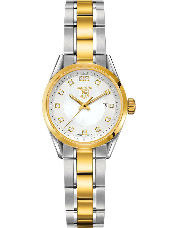 GIFT IDEA TAG HEUER LADIES CARRERA WV1450.BD0797 PEARL DIAMOND 18K GOLD WATCH