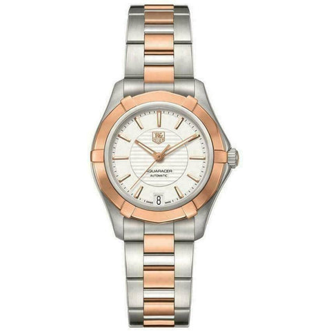 TAG HEUER AQUARACER WAP2350.BD0838 AUTOMATIC 18K ROSE GOLD LADIES SILVER WATCH