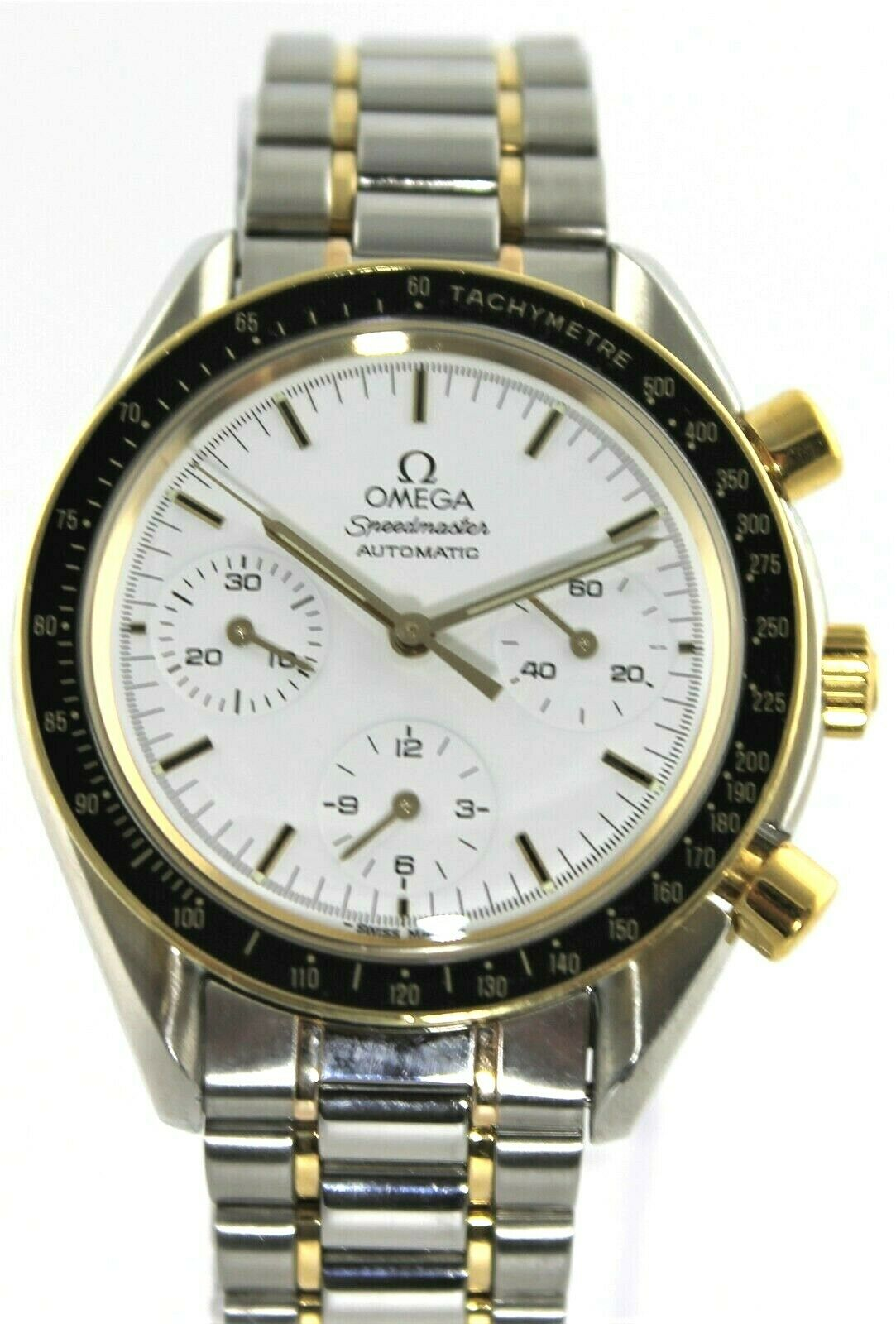 OMEGA SPEEDMASTER 3310.20 AUTOMATIC CHRONOGRAPH 18K GOLD WHITE SWISS MENS WATCH