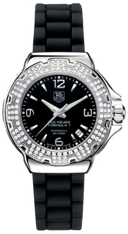 TAG HEUER FORMULA 1 WAC1214.BT0711 DIAMOND SWISS QUARTZ LADY BLACK RUBBER WATCH