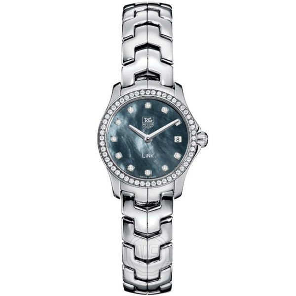 GIFT IDEA TAG HEUER LADIES LINK WJF1419.BA0589 SWISS QUARTZ DIAMOND PEARL WATCH