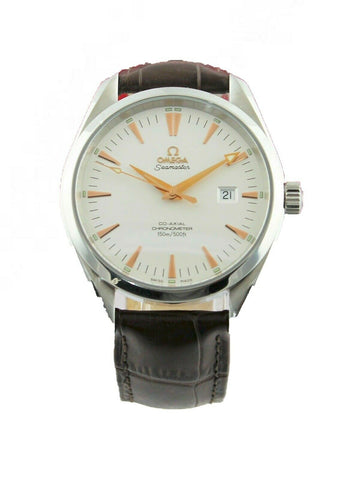 OMEGA SEAMASTER AQUA TERRA 2502.34 AUTOMATIC CO-AXIAL ROSE GOLD LEATHER WATCH