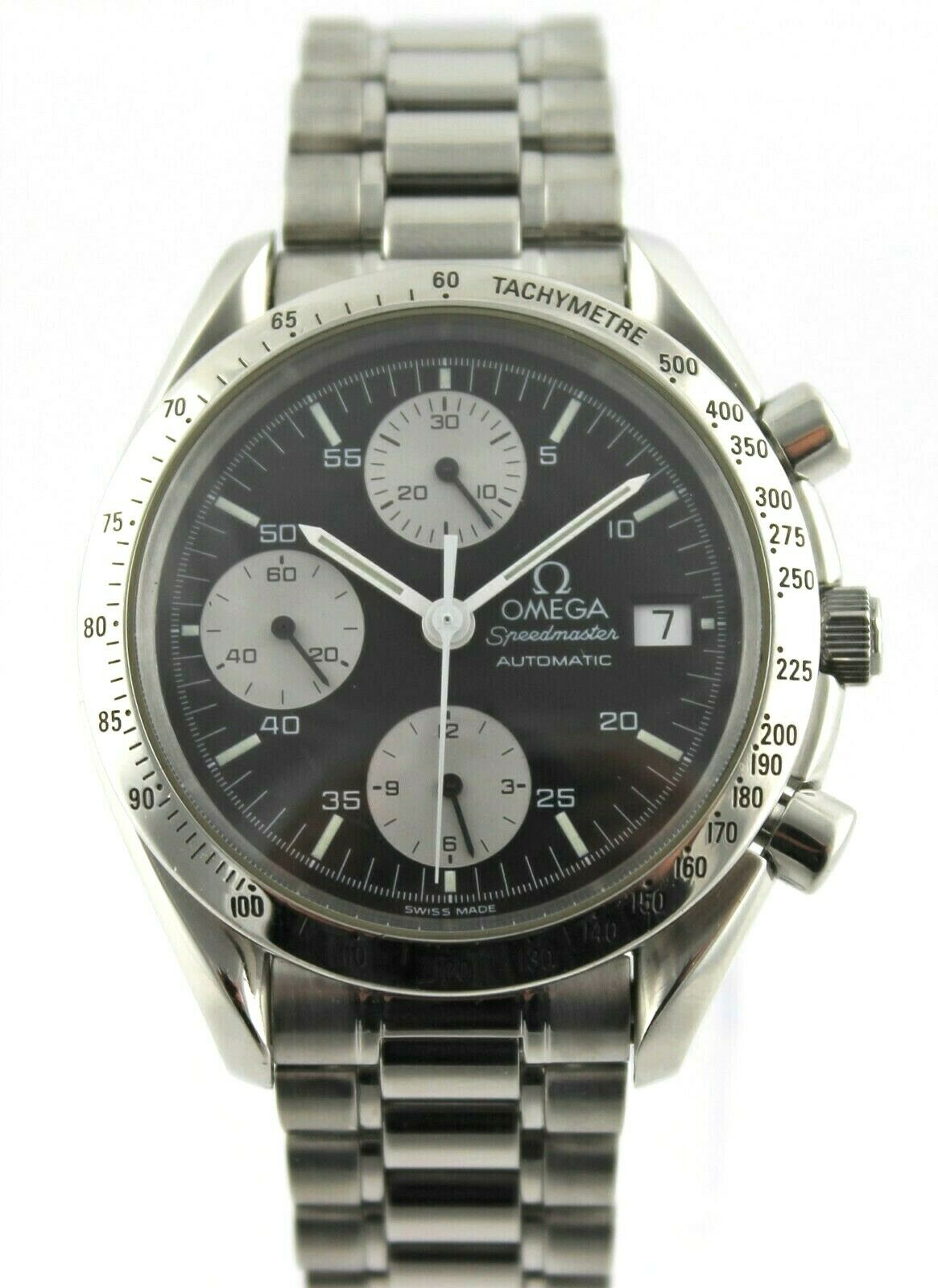OMEGA MENS SPEEDMASTER 3511.50 AUTOMATIC CHRONOGRAPH PANDA STEEL WATCH SERVICED