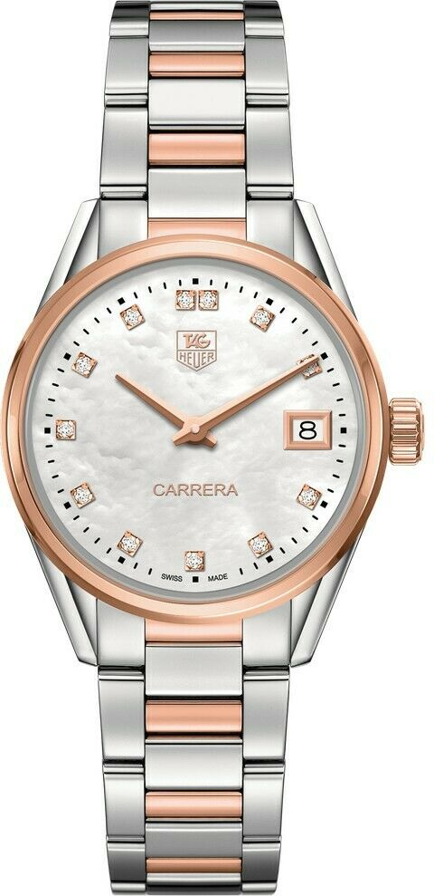 TAG HEUER LADIES CARRERA WAR1352.BD0779 DIAMOND ROSE GOLD PEARL LUXURY WATCH
