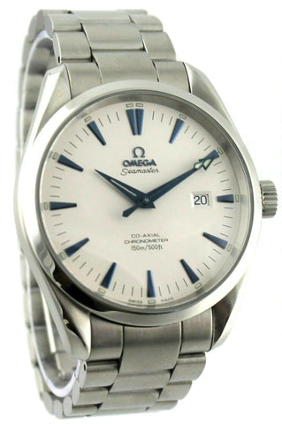 OMEGA SEAMASTER AQUA TERRA 2502.33 AUTOMATIC CO-AXIAL WHITE BLUE PRESTIGE WATCH